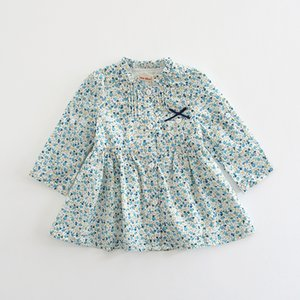 Baby Autumn Dress 2018 Vintage Cotton Girls Dresses Flowers Print Baby Girls Dress Baby Clothing For Little Girls 0-2T