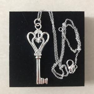 925 Silver Key Pingente Colar Mulheres Sterling Prata Chaveiro Colar Para Presente Partido Moda Acessórios De Jóias