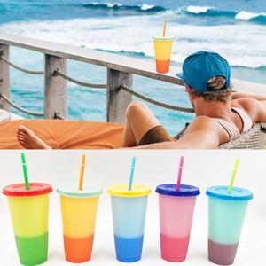Coppe 700ml Plastic Temperatura Cambio colore fredda colore di acqua Cambiare Bottiglie tazza di caffè con cannucce Coperchio