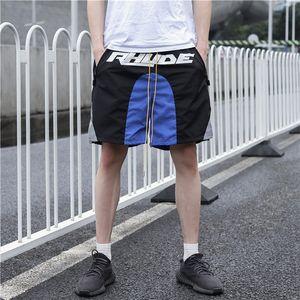 Mens Summer Shorts Pants Rhude 2020sss Summer Drawstring Reflective Blue Stitching Casual Fashion Running Shorts Fitness High Street