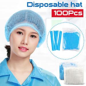 US Stock 100PCS jetable cheveux Bonnets de douche Chapeaux PVC plissés anti-poussière Chapeau Hôtel Salon Supplies Ensemble douche Blanc Bleu Caps