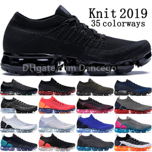 2019 Nike Air Vapormax Flyknit 1.0 2.0 Bred Triple Black Multi-Color Chaussures de course hommes White Thunder Grey Racer Bleu Spiderman Orca Womens sneakers Designer