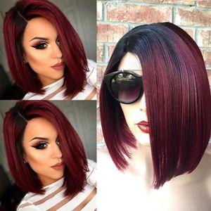 Kurze glatte Damen Bobo Perücke Vollkappe Brasilianisches Glueless Haar Seitenteil