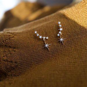 Mousseux romantique luxe Bijoux argent 925 Pave blanc Sapphire CZ Diamant Gemstones Promise Moon Star Dangle boucle d'oreille pour les amoureux