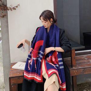 2019 Herbst-Winter-Platz Wollschal Frauen Kaschmir-Schal-Breite Gitter Lange Schal Wrap Blanket Frau Designer Warm Tippet