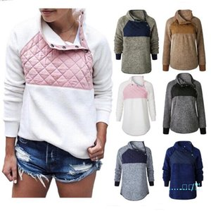 S-3XL Women Sloping Collar Fleece Sweatshirt 2019 Female Woolen Joint Pullover Turtleneck Sweater Coats Fashion Wool Hoodie Clothes C92706