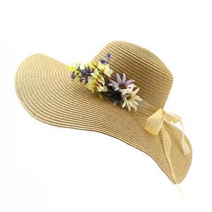 2019 estate carta paglia cappelli ampi larghi sole floreale decorare donne signore ragazze spiaggia Sunbonnet Pieghevole femminile Topee cappellino