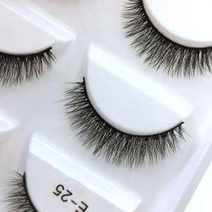 Factory wholesale price E25 fast delivery 5 pairs 3D silk natural long false eyelashes beauty makeup tools