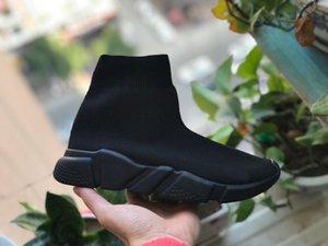 Designer-ed TRICOT BLANC Chaussures Casual Vitesse Entraîneur Sneakers Vitesse Entraîneur Chaussette Race Runners Blanc / Noir