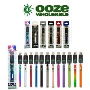 OOZE Twist Préchauffez 350mAh Chargeur de batterie tension variable Kit Préchauffez batterie Bud tactile 510 fil Vape VS Vmod Palm Law Vision Spinner