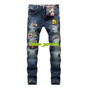 2019 New Mens Hole Badge Jeans Men Straight Slim Washed stylist Men Jeans Mens Pants Fashion Hip Hop Motorcycle Pants