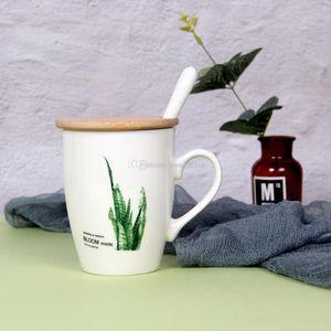 Yeşil tropikal Yapraklar porselen kahve kupa Bambu kapaklı ve Paslanmaz Çelik kaşık Monstera okaliptüs yaprağı 4 desen 11 ons