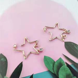 çift için uygun yüksek kaliteli moda yeni sıcak satan marka Retro klasik pentagram yıldızı alfabe küpe S925 gümüş pimi inci küpe