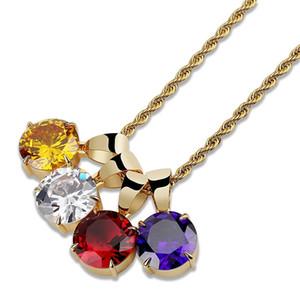 Hip hop renkli tek erkekler kadınlar için büyük gem kolye kolye lüks zirkonlar kolye 18 k altın kaplama bakır taş kolye 4 renkler