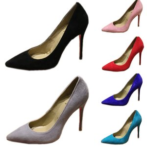 Fashion Women Shoes Nordstrom Anjalina 2090 Red Bottom high heels 8cm 10cm Nude Black Purpie Leather Pointed Toes Pumps Dress Shoes