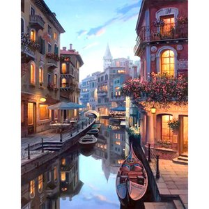 Framed Venice Night Landscape DIY Painting By Numbers Kits Coloring Painting By Numbers Home Wall Art Decor For Unique Gift
