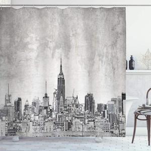 İkonik gökdelenler ve Yüksek Yapılar Sanat Tasarım Banyo Dekor ile Sketchy Duş Perde Cosmopolitan New York Skyline