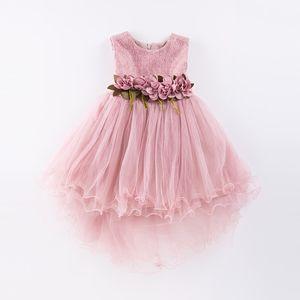 Abito da ragazza Mermaid Tulle Wedding Party Dress 2019 Abiti da principessa estate Abiti Ball Gown con fiori Taglia 4-9t Rosa Verde J190709