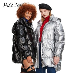 JAZZEVAR 2019 Winter New Fashion Street Womens Edgy Sliver Long Down Jacket Cool Girls Zipper Hooded Down Coat Outerwear z18004 Y200107