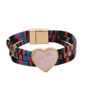 2020 New Summer Bohemia Resin Heart Multi-layers Magnet Bracelet Korean Fashion Party Women Jewelry