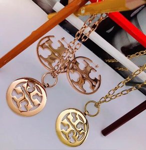 2020 новый дизайн 18K золото выросли девушки женщин письма венчания комплектов ювелирных изделия шарма любовь кулон серьги ожерелье оптового подарок на день рождения