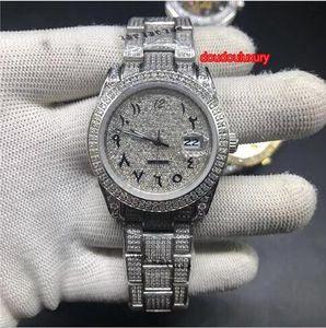 Venta caliente Reloj de pulsera de los hombres superiores encanto de plata diamante Reloj de Hombre árabe Escala populares de moda Relojes Hombre