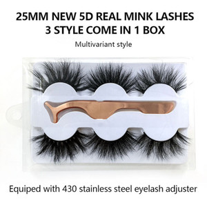 25mm 3D Mink Eyelashes 6D Natural False Eyelashes Handmade 3 Pairs Mink Lashes with lash curler Fake Eyelashes Extension