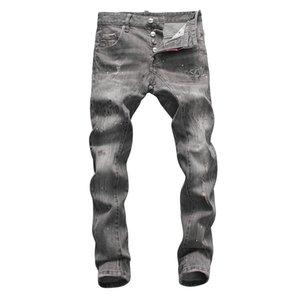 mens 2020 design de luxe vêtements Hommes Jeans Slim Fit Denim Hip Hop Solid Color Streetwear Jeans Biker