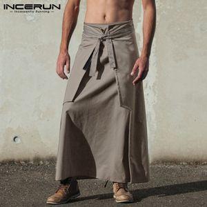 INCERUN Kilt Samurai Hosen Mode-Männer Kilts Martial Arts Style Kendo Röcke Männer Retro Feste Taschen Military Röcke Y200114