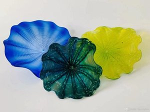 Hot Sale Wall Decoration Blown Glass Plates Flower Plates Modern Hand Made Blown Glass Flower Plates for Wall Decoration