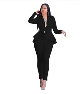 Hidden Leaf Breasted Manga comprida terno slim Calças Two Piece Suit Womens Sólidos terno Cor Professional Lotus