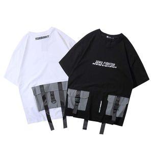 Mens 3M Reflective multitasche Ribbon T-shirt maschile Hip Hop allentato Streetwear supera i T breve estate manica T-shirt
