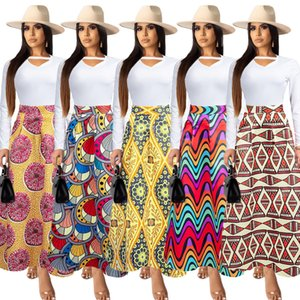 2020 Newest Arrivals Female Printing Holidays A Line Skirts High Waist Ruched Fashion Women Ankle Length Skirt Beach Casual Wear No Top