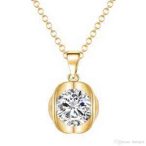 골드 목걸이 의상 보석 목걸이 백금 도금 라운드 큐빅 지르코니아 다이아몬드 펜던트 목걸이
