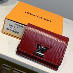 M68607 Twist Xs Wallet femmes cuir véritable Portefeuille long chaîne Portefeuilles bourse Compact embrayages soir Porte-cartes-clés Cherry Berry Bourgogne Ca