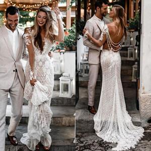 Robe de mariée bohème manches longues en dentelle de mariée sirène Robes sexy encolure en V peau élégante doublure Robes de mariée Robe de mariée Pays Boho