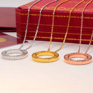 2020 Fashion Diamond circle Necklace Beauty Charm Women Luxury Designer Pendant Chain Necklace love Jewelry Gift Pandora Carter
