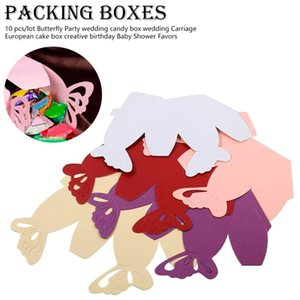 10 pezzi / lotto Butterfly Party Wedding Candy Box Wedding Carriage European Cake Box Creativo compleanno Baby Shower favori regalo Bag