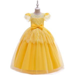 Festa de aniversário beleza Ballgown Amarelo Longo rendas crianças vestidos de noiva Pageant Dresse Vestidos Primeira Comunhão 2019