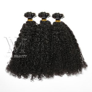 Flat Tip Single Double Drawn Custom Kinky Curly Natural Color Keratin Virgin Human Hair Extensions 1g s 100s Pre-bonded 14 to 26 Inch
