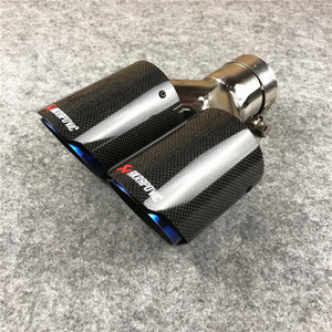 One Piece : Akrapovic exhaust end pipes auto glossy carbon blue steel exhaust tail tips car styling for universal muffler