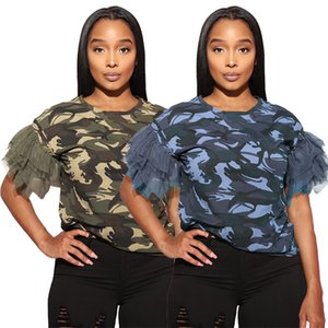 Summer Women Camouflage Printed T Shirts New Arrivals Puffy Sleeves Mesh Patchwork Crew Neck Casual Girls Tops Real Photos 2020