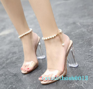 Hot Sale-Summer fashion beading chain crystal shoes clear transparent thick heel sandals party events size 35 to 40 l15