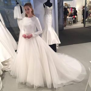 Достойный Jewel шеи белый с длинным рукавом свадебные платья на продажу Кружева Аппликации зимние свадебные платья с поезда суда мусульманскими Свадебные платья