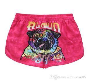 Принт шорты брюки мода Женская летняя одежда свободный шнурок легкий расслабленный повседневная одежда пара собак 3D