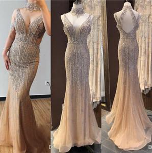 Lüks Dubai Şampanya V Yaka İnciler Elmas Gelinlik Modelleri 2019 Son Tasarım Kolsuz Seksi Pageant Parti Abiye giyim Abendkleid