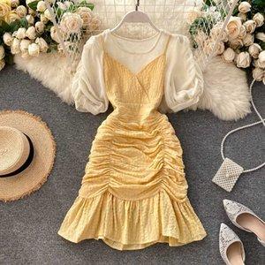 YOCALOR 2 Piece Set Mulheres O Neck Puff Sleeve Tops Suits + plissadas Ruffles V Neck Spaghetti Strap Sereia vestido da forma