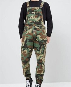 Mens Tuta Moda Slim maschio pantaloni lunghi Designer Stampato Camouflage Jeans Salopette Denim