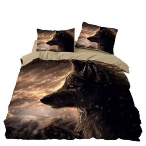늑대 침구 세트 침실 장식 Doona 이불 커버 알레르기 회색 배경 베개와 1PC 이불 커버