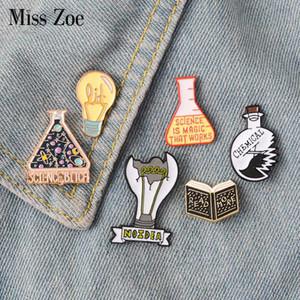 Magic Science enamel pin Light bulb No Idea  Beaker badge brooch Lapel pin Denim Jeans shirt bag Cartoon Jewelry Gift